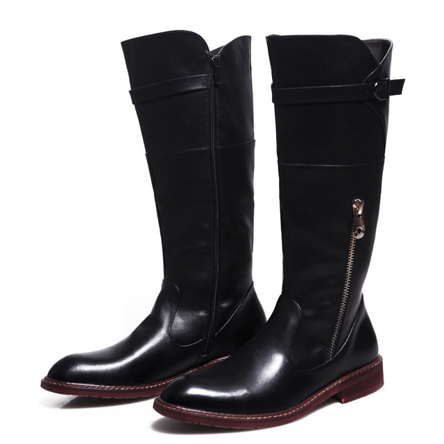 Mens Cowboy Riding Boots Winer Fashion Mid Calf Men Shoes PU Leather Martin Boots Zipper Long Military Motorcycle Boots