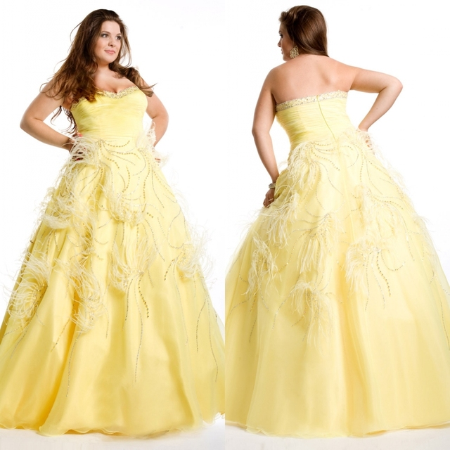 Elegant Strapelss Ostrich Feather Yellow And White Plus Size Ball ...