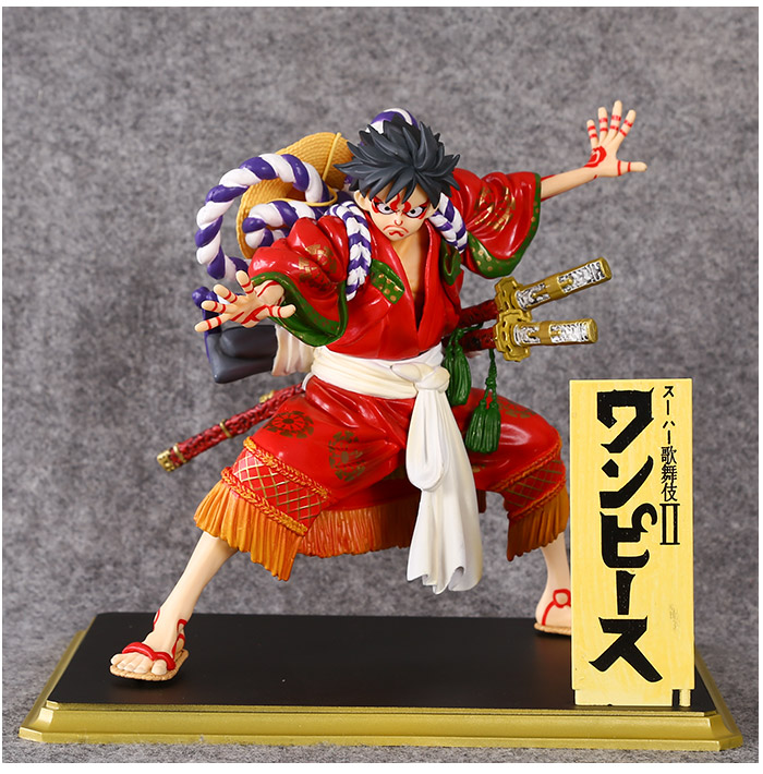 Free Shipping 7 One Piece Anime Monkey D Luffy Kabuki Edition Boxed 18cm PVC Action Figure Collection Model Doll Toy Gift anime one piece dracula mihawk model garage kit pvc action figure classic collection toy doll