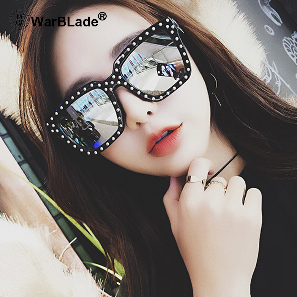 WarBLade Fashion Rhinestone Oversized Square Sunglasses Women Elegant Brand Designer Big Mirror Sun Glasses For Female UV400