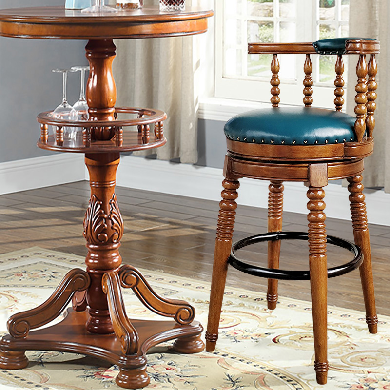 Solid wood European style bar stool American retro high bar chair home in Bar Chairs from Furniture