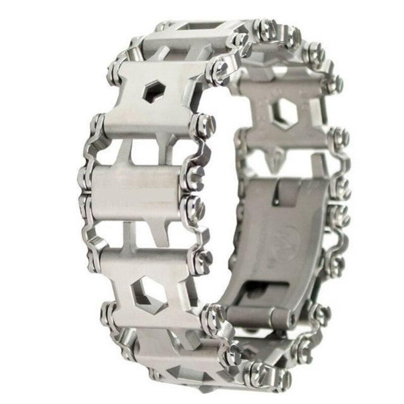Extérieure EDC Outil En Acier Inoxydable Bracelets 29 Sortes de Multi-fonctionnelle Tournevis Clé Bracelet Lien Matériel de Camping