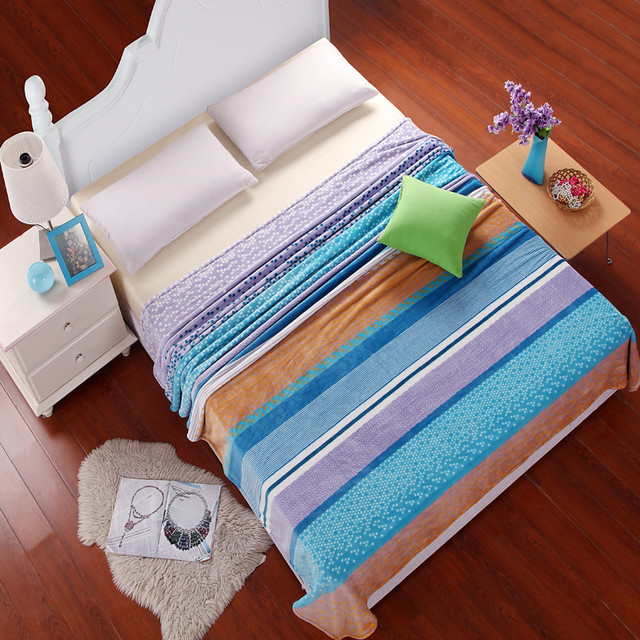 Panic Ing Ice Blue Dot And Stripes 100 Polyester Europe Portable Summer Multi Flannel Sheets