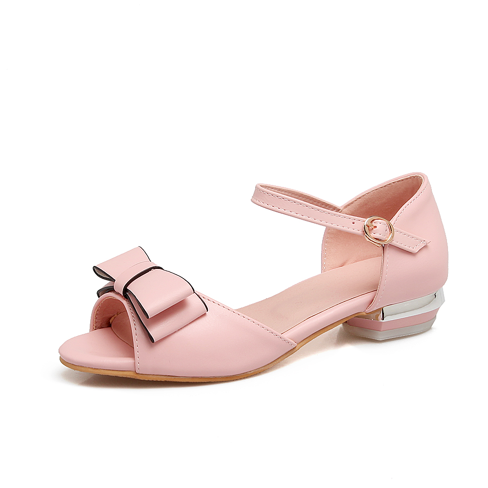 2018 New sweet bowties Women Sandals Fashion Square Heel Summer Shoes Woman low heel Shoes Big Size 34-43