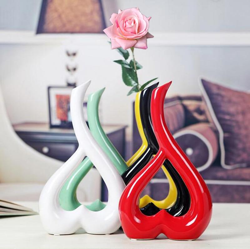 1 Piece Creative Handcrafts Home Decoration Art Work Flower Holder Ceramic Vase or 1 Vase Plus 1 Real Touch Rose Set