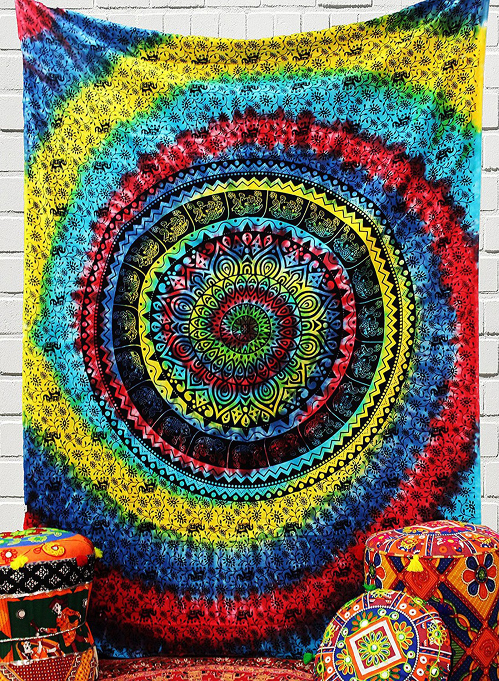 Urban TapestryDye Twin Tapestry Hippie Tapestry Wall Hanging Bohemian Art Decor Single Curtain Spiral Multi Colour 148*200cm