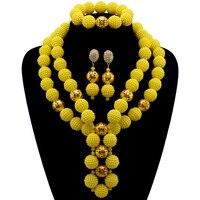 חמה למכירה תכשיטי חרוזים אפריקאים סט כלה ניגרית צהוב תחפושת אפריקאית שרשרת סטי תכשיטי כלה משלוח חינם