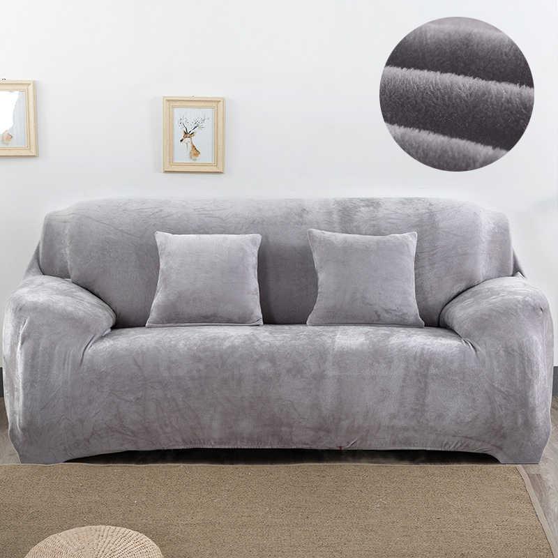 Plush Sofa Cover Stretch Solid Color