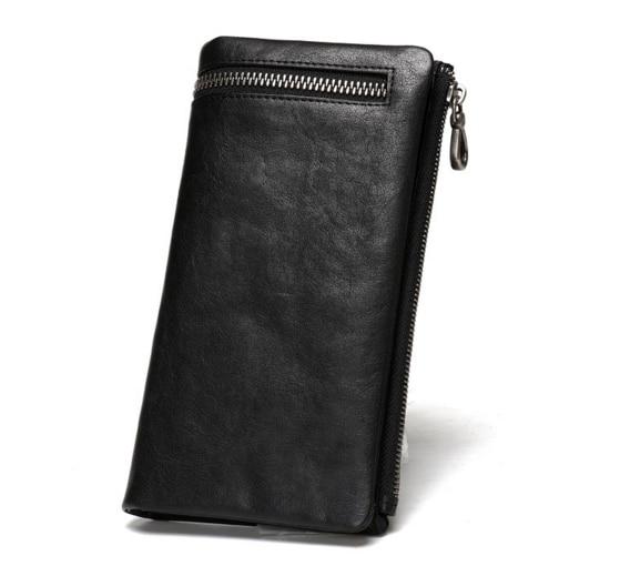Top Fashion Genuine Leather Mens Wallets Brand Zipper Designhead Cow Leather Long Men Purse Male Clutch Vintage Purse Coin Bag