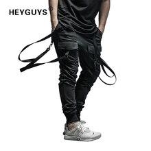 HEYGUYS Pantalones secos de longitud completa para hombre, chándal de estilo hip hop, de talla grande, con cinturón, 2018