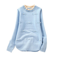 4 To 14 Years Kids Teenager Girls Pearl Knitted Pullover Sweater Children Fashion Casual Fall Winter
