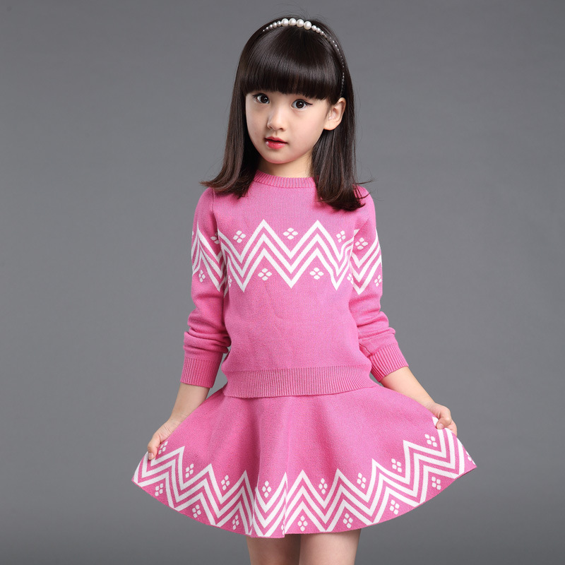Autumn&Winter Girls Skirt Sets Geometric Pattern Long Sleeve Sweater+Skirt 2pcs Knitwear Sweatshirts Clothing Sets 3-7 Years autumn winter girls children sets clothing long sleeve o neck pullover cartoon dog sweater short pant suit sets for cute girls