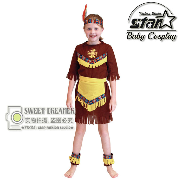 Native American Indian Halloween Cosplay Princess Costume Carnival Festival Role-play Girl Fancy Dress Peformance Party for Kid halloween cosplay maid girls dress carnival party skeleton pattern role pirate costume princess dress black with gloves