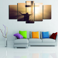 Artistic originality forgiven cross christian print poster canvas in 5 pieces with Framed