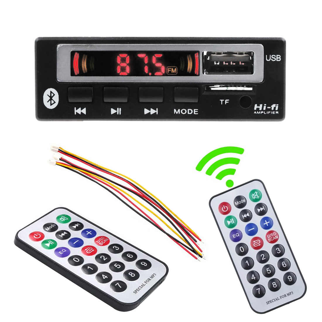 Car accessories Bluetooth5.0 MP3/WMA/WAV/APE Decoder Board 5V 12V Wireless Audio Module Color Screen USB FM Radio