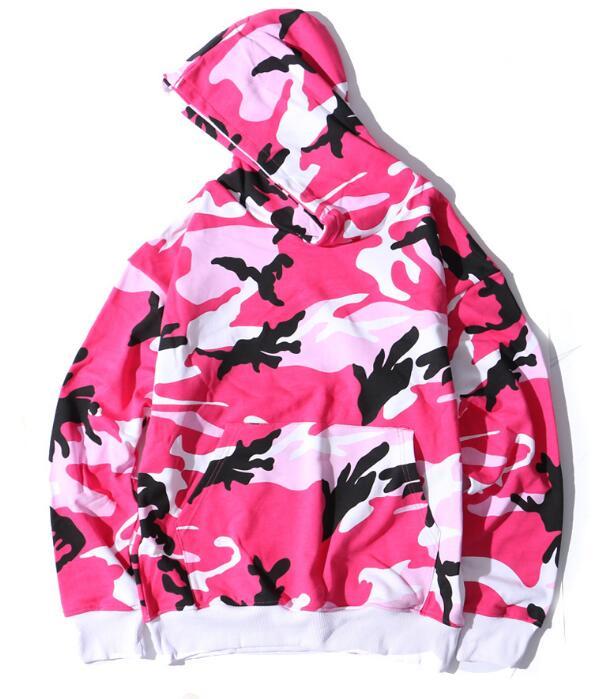 Rose sweater à capuche camouflage Hommes Hip Hop Noël Streetwear Hoodies Sweats Capuches Mâle Surdimensionné Sweat À Capuche Homme Violet Rouge