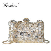 2018 Beading Rhinestones Metal Clutch Embroidery Vintage Chain Shoulder Small Bags Party Wedding Evening Dress Evening Bag Purse