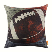 LINKWELL Retro Pillow Case Burlap Cushion Cover 18×18 inch American Football Rugby with Small Words American USA Style Man Cave