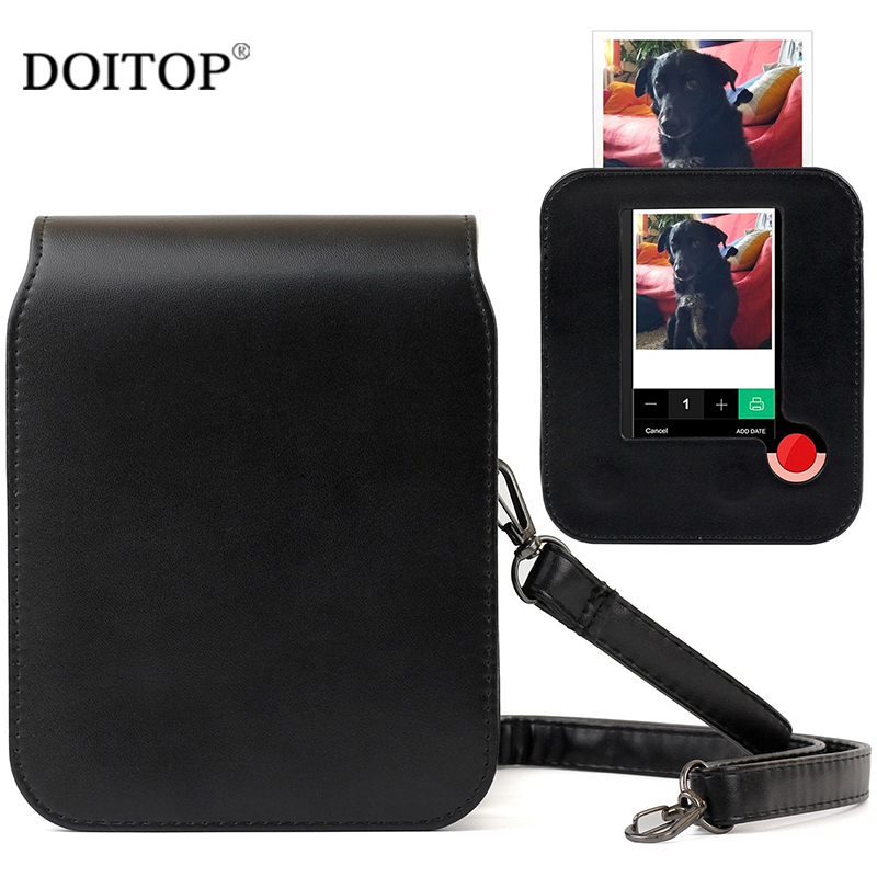 DOITOP PU Leather Camera Bag Protector Case For Polaroid POP Digital Camera Fashion Shoulder Bag For Instant Camera Black