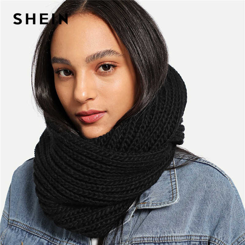 9347d610eb SHEIN Black Modern Lady Casual Knit Infinity Scarf 2018 New Autumn Winter  Workwear Acrylic Base Warmth