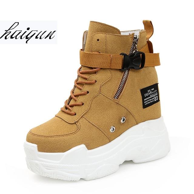 410a9f651e523 Otoño Invierno mujeres tobillo botas plataformas zapatos mujer 11 cm  tacones altos altura interior aumento Faux