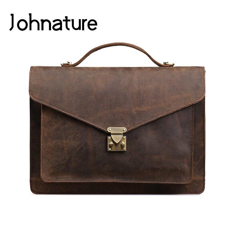 Johnature 2019 New Retro Solid Soft Handle Genuine Leather Briefcase Mens Document Bag Handbags&Crossbody Bags Mens Business Bag