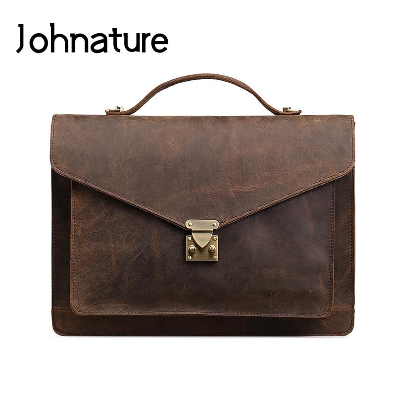 Johnature 2020 nouveau rétro solide poignée souple véritable mallette en cuir hommes Document sac sacs à main et sacs à bandoulière hommes sac d'affaires