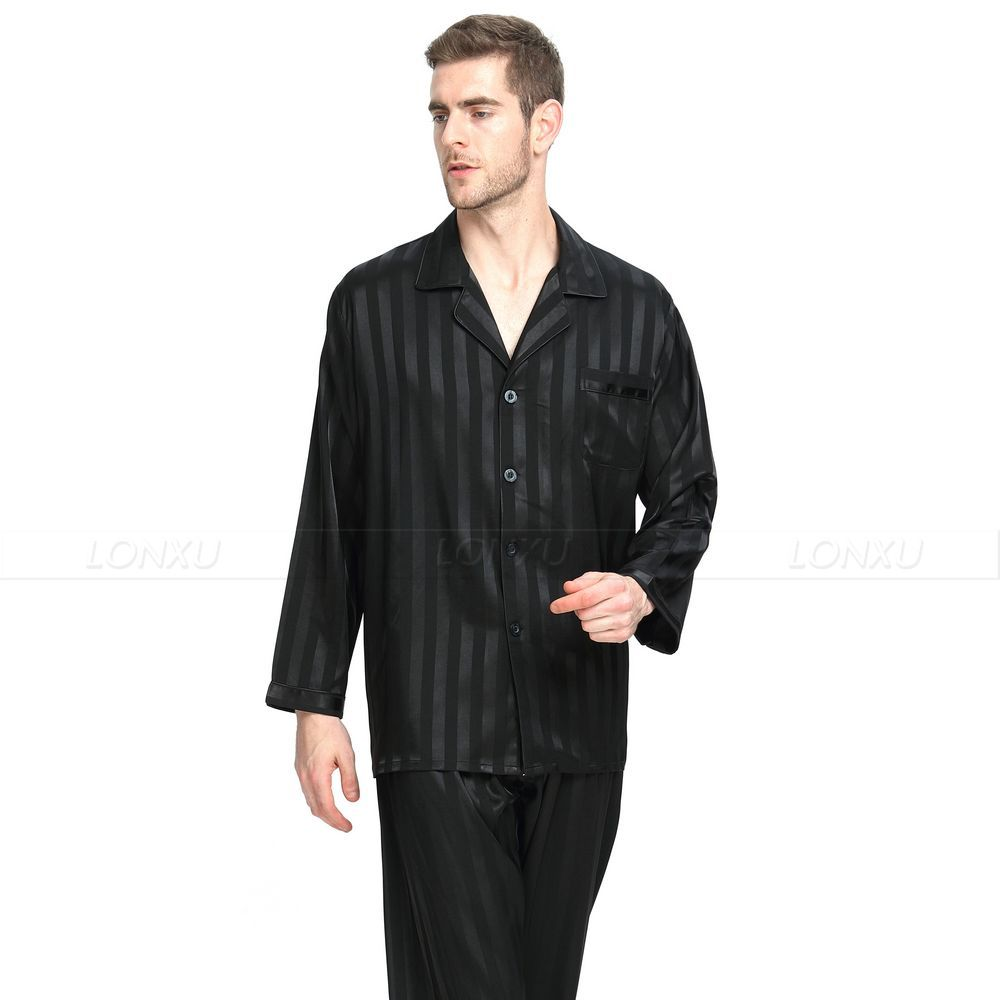 Image 3 - Mens Silk Satin Pajamas Set  Pajama Pyjamas  Set  Sleepwear Set  Loungewear S,M,L,XL,2XL,3XL,4XL  Plus  Striped Black-in Men's Pajama Sets from Underwear & Sleepwears on AliExpress