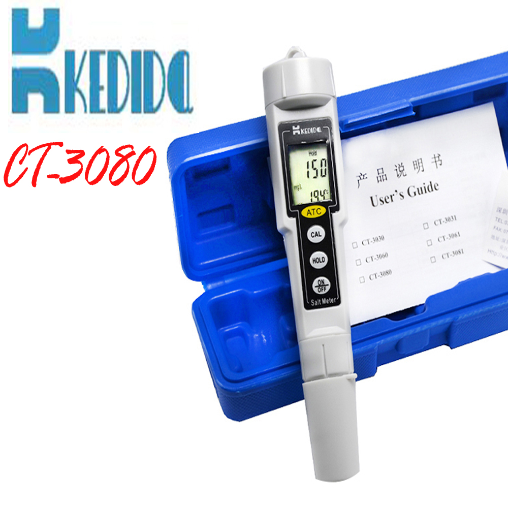 CT-3080 Pen type digital salt meter Water Salinity Tester waterproof, salinity meter test Concentration of Salinity tools brand kedida salt meter pen type lcd display digital salinometer water swimming pool spa salinity tester 0 to 1000 mg l ct 3080