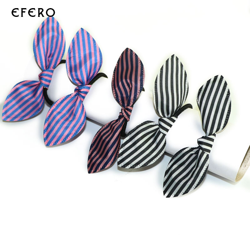 10Pcs Hair Rope Cute Bunny Women Hair Ring Ties Rabbit Ears Striped Elastic Ring Hair Accessories For Girls Hairdressing Tools