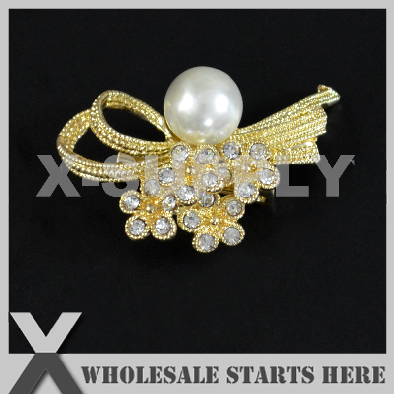 23x37mm Gold Metal Rhinestone Brooch with Regular Pin Backing,Used for Party Evening Wedding Dress,Decorations