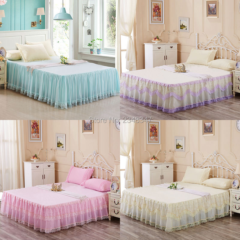 Princess Style Lace Chiffon Multi-Layer Ruffled Tulle Bedding Bed Skirt Bedsheet Twin/Full/Queen/King Pink Purple Yellow Wedding