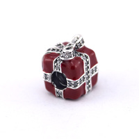 Fits for Pandora Charms Bracelets Sparkling Surprise Beads With Red Enamel 100% 925 Sterling Silver Jewelry Free Shipping