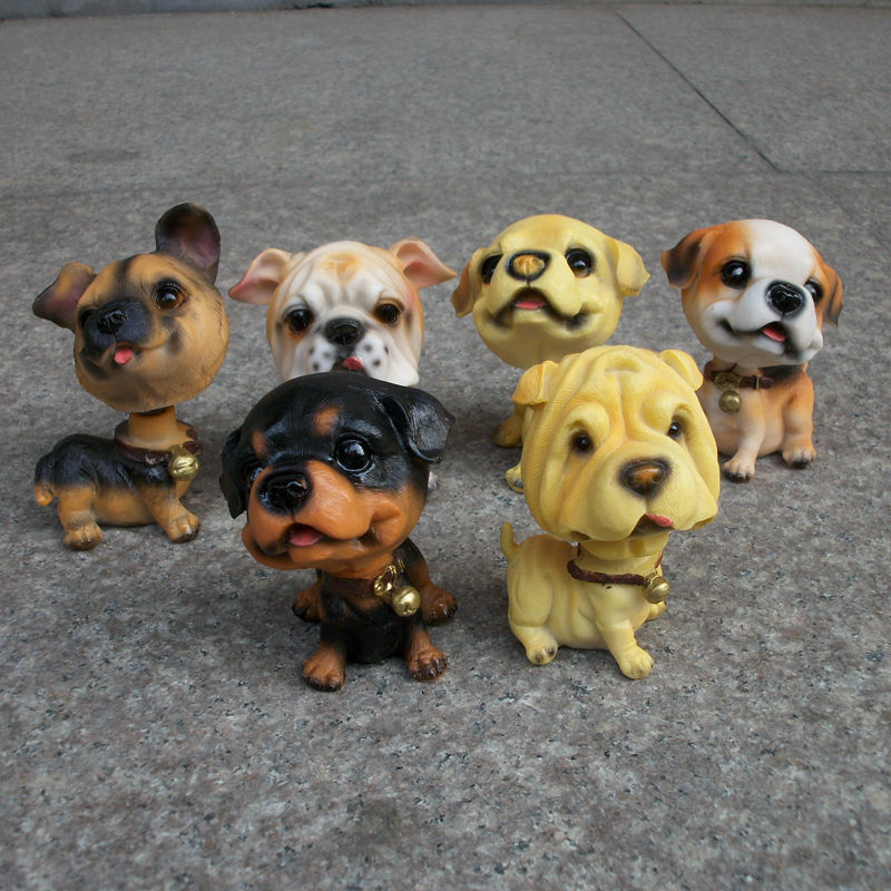 ФОТО Creative Cute Resin Ornaments 6pcs/set Shaking Head Dogs Pets in my pocket little puppy dolls Car Accessories Boutique Kids Toy