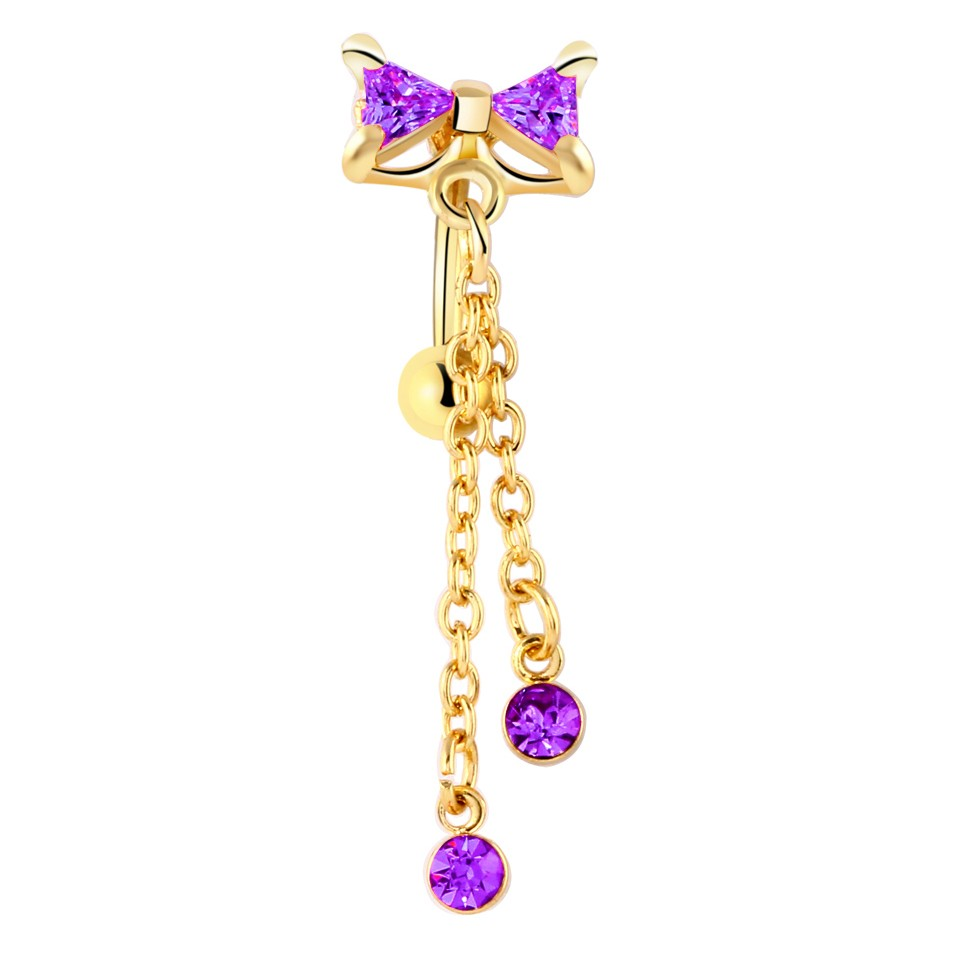 HTB1AZnLOVXXXXb9XFXXq6xXFXXXa Dainty Stainless Steel  Rhinestone Crystal Dangling Ribbon Bow Navel Ring For Women