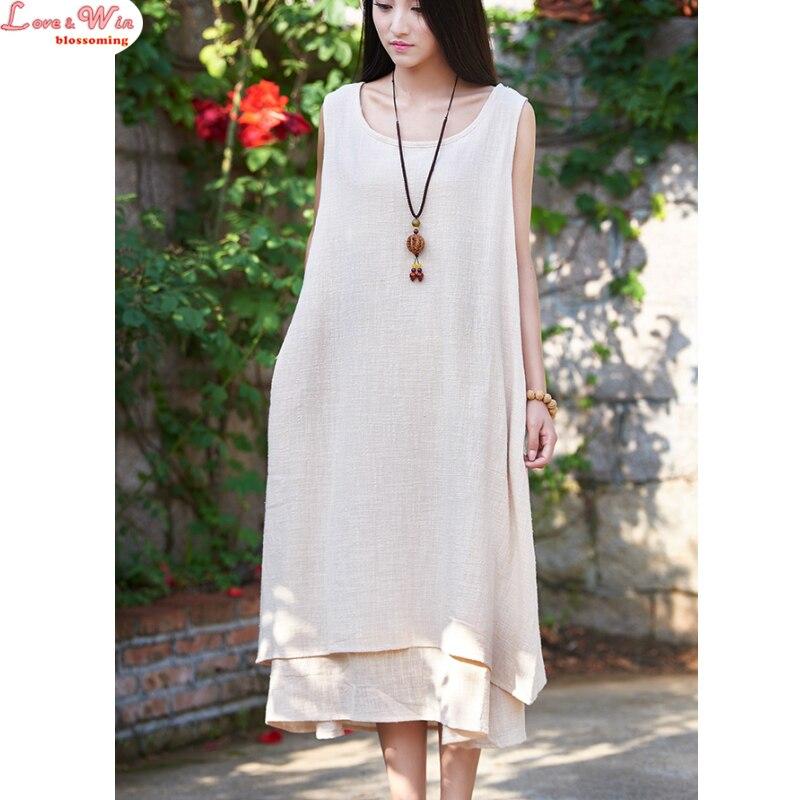 simple sleeveless round collar lino vestido custom casual women linen sundress