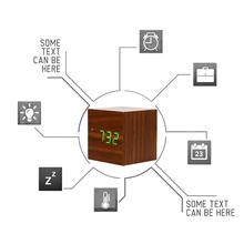 Cube LED Wooden Alarm Clock Sound Control Square Table Digital Thermometer Clock