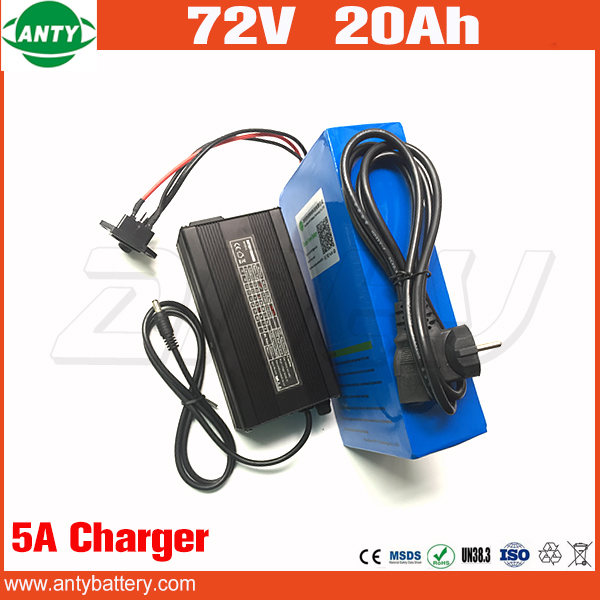 Electric Bicycle Battery 72v 20Ah 1500w Scooter Lithium Battery 72v with 84v 5A Charger 30A BMS e Bike Battery 72v Free Shipping free customs taxes customized 72v 40ah lithium battery pack for e bike electric scooters ev e bikes with charger and 50a bms