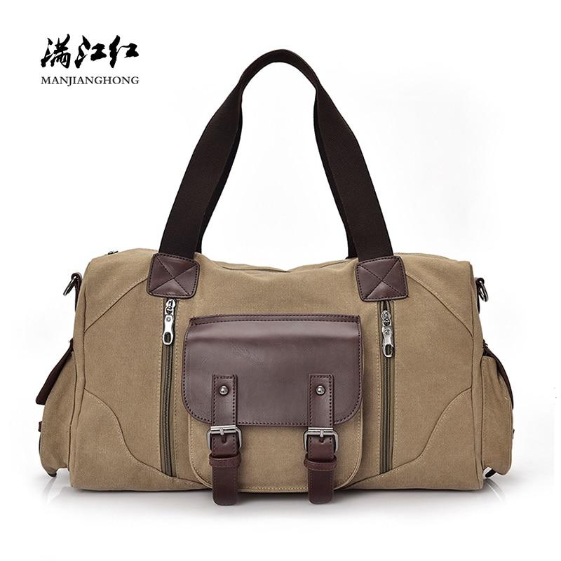 цена на Vintage Canvas Shoulder Travel Bag Men Large Casual Men Travel Duffle Bag Leisure Patchwork Leather Tote Travel Bag Luggage 1375
