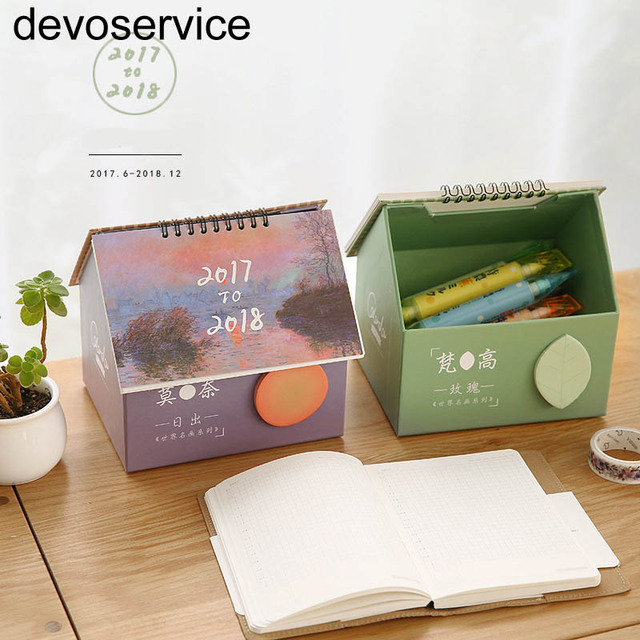 2018 calendar storage box memo pads creative cute house desk calendar small fresh multi function