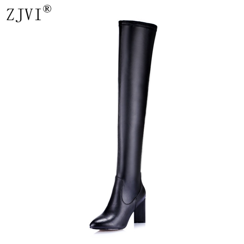 ZJVI womens square high heels over the knee boots woman autumn winter thigh high genuine leather boots women pointed toe shoes