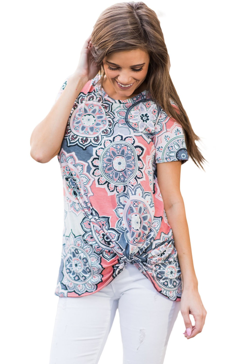 Buy yuerlian women boho knotted t shirts for Large shirt neck size
