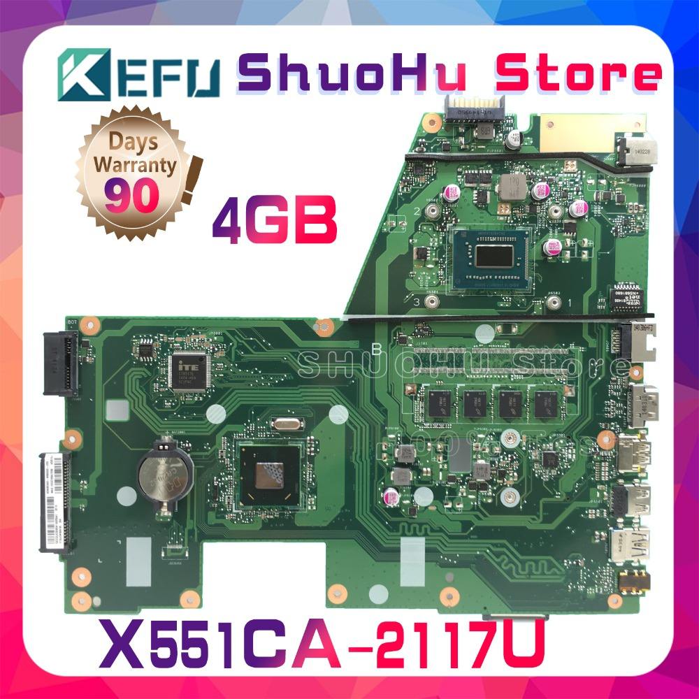 SHELI For F551C ASUS R512CA X551C X551CA X551CAP 2117U CPU 4GMemory laptop motherboard tested 100% work original mainboard free shipping x551ca 1007u cpu 4gb memory mainboard for asus x551c x551cap x551ca laptop motherboard 60nb0340 mb1060 100% tested