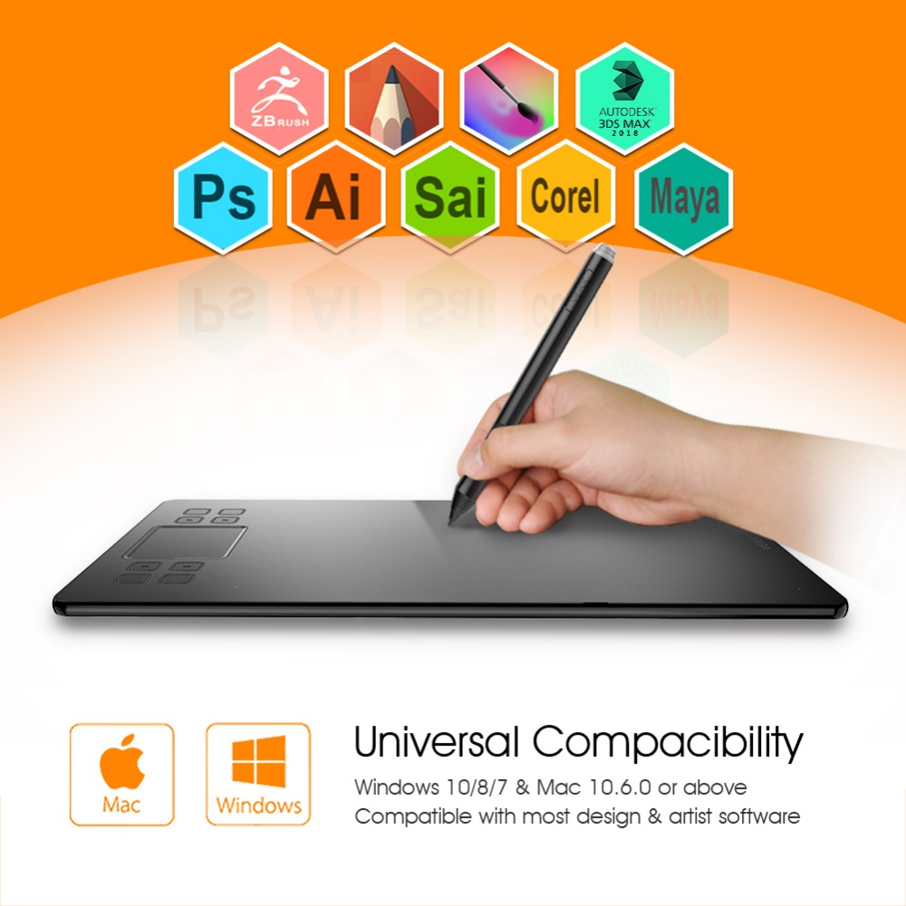 US $55 92 20% OFF|Graphics Drawing Tablet veikk A50 Digital Pen Tablet with  8192 Levels Passive Pen Compatible with Win and Mac System-in Digital