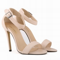 Free Shipping Black Women Pumps Sexy Girls Matte Finish High Heels Shoes Open Toe Ankle Strap