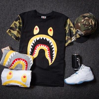 New Shark t shirt Men Women bape Camo Mixed Colors Camiseta masculina  Summer Style Short-sleeved Camisetas hombre Shark tshirt 1b76b5573