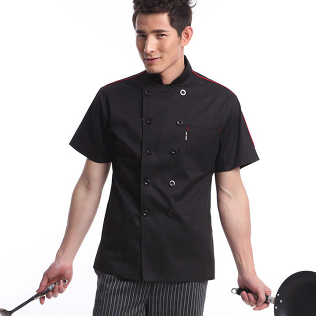 Casual Unisex Soft Chef Jackets Short Sleeve Oblique Collar Double Breasted Kitchen Catering Restaurant Work Uniform