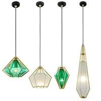 Diamond Стекло подвесной светильник гальваническим Стекло Обеденная подвесной светильник творческий зеленый подвесные светильники Кухня Nordic