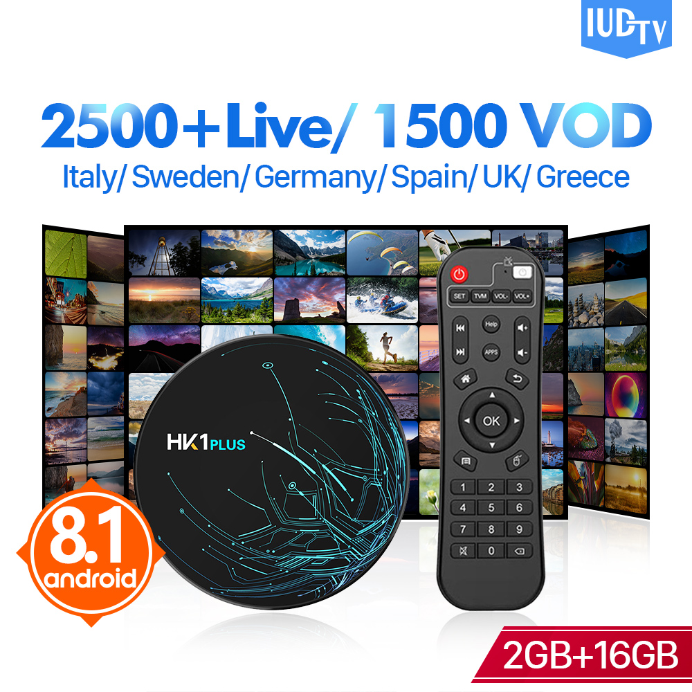 IUDTV Subscription Box IPTV Sweden Italy Spain HK1 Plus Android 8.1 Tv Box 2G 16G UK Germany Greeck India Italia Spanish IP TV