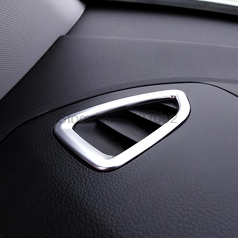 For Hyundai Tucson 2016 2017 Matte Chrome 2pcs Interior Air Conditioning A/C Vent Outlet Cover Molding Trim Accessories